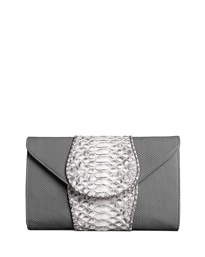 Babo Python & Lizard Clutch Bag, Gray