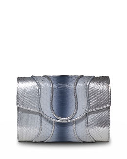 Jolie Ombre Piped Snakeskin & Lizard Clutch Bag, Silver