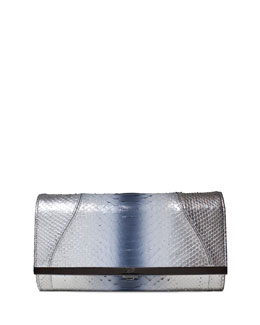 Katerine Ombre Python Clutch Bag, Silver