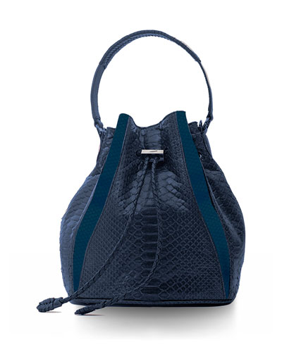 Edam Python & Leather Paneled Mini Bucket Bag, Navy