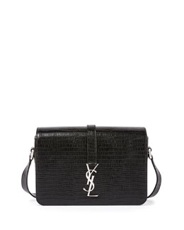 Monogramme Medium Lizard-Embossed Universite Satchel Bag, Black