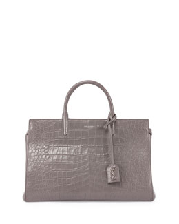 Monogramme Croc-Stamped East-West Tote Bag, Fog