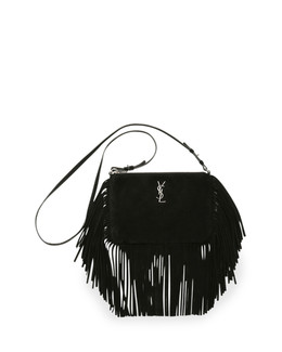 Monogramme Suede Fringe-Edge Crossbody Bag, Black