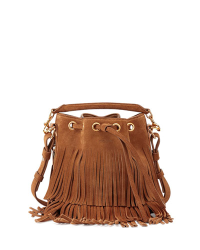 Emmanuelle Small Suede Fringe Bucket Bag, Light Ochre