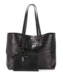 Large East-West Croc-Embossed Shopper Bag