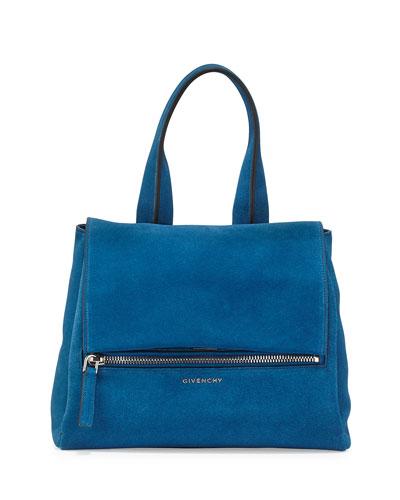 Pandora Pure Small Suede Satchel Bag, Electric Blue