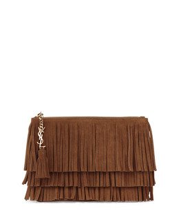 Monogramme Medium Suede Fringe Clutch Bag, Tan