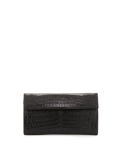 Large Double-Flap Clutch Bag, Black
