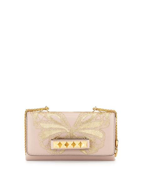 0e5028b3910 Valentino Garavani Va-Va-Voom Butterfly Shoulder Bag, Powder/Golden