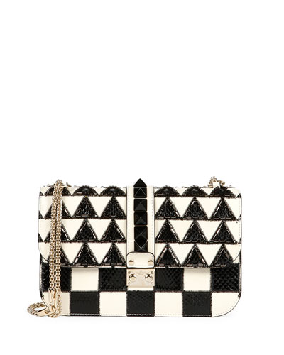 Lock Geometric Beaded Snakeskin & Leather Shoulder Bag