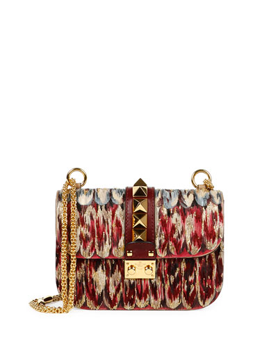 Lock Painted Feathers Leather Shoulder Bag