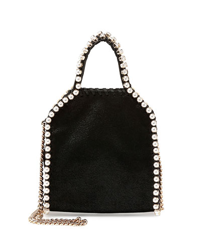Tiny Pearly Falabella Tote Bag, Black