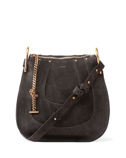 Hayley Small Suede Hobo Bag, Iron Gray