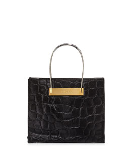 Small Cable Fur Shopper Bag with Strap, Black