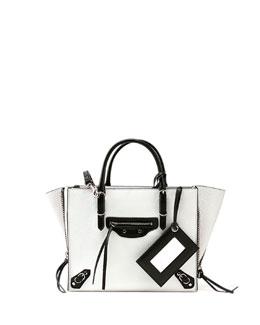 Papier A6 Zip Around Tote Bag, White/Black