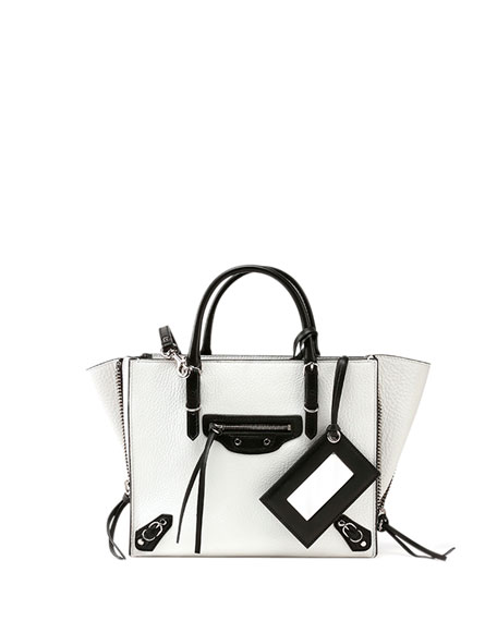 d1490081568079 Balenciaga Papier A6 Zip Around Tote Bag, White/Black