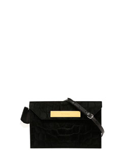 Embossed Calf Hair Shoulder Bag, Black
