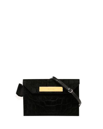 Embossed Calf Hair Shoulder Bag, Black