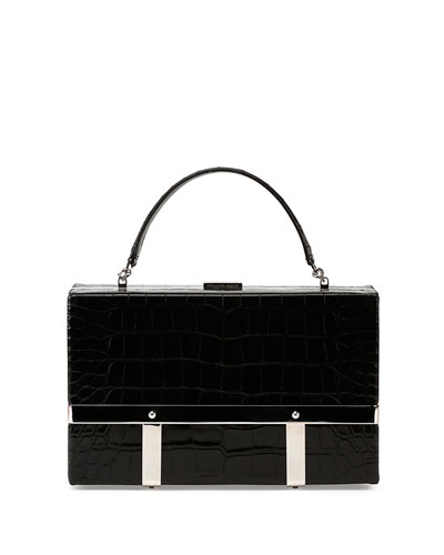 Cage Crocodile-Stamped Case, Black