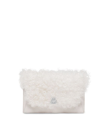 Anouk Mini Shearling Fur Clutch Bag, White