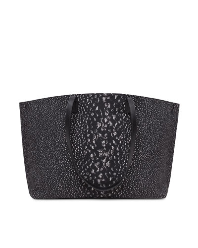 Ai Medium Pebble-Print Shoulder Tote Bag, Black