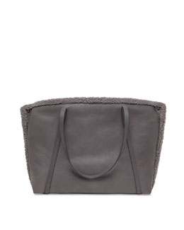 Ai Medium Shearling Fur Tote Bag, Gray