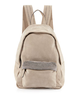 Monili-Detailed Leather Backpack