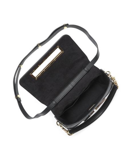 3Baguette Studded Chain Shoulder Bag, Black