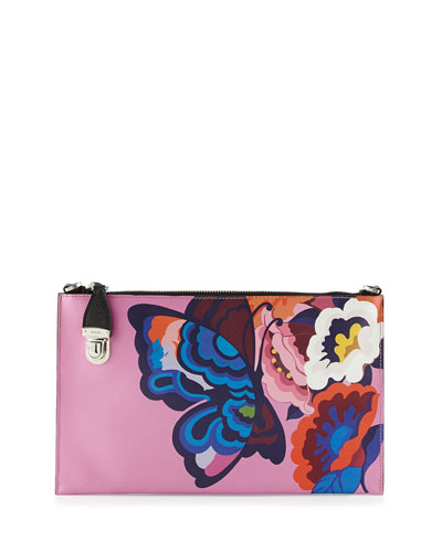 Butterfly-Print Saffiano Clutch Bag