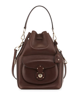 Ricky Calfskin Bucket Bag, Dark Brown