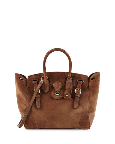 Ricky 33 Soft Suede Satchel Bag, Taupe