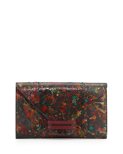 Drip-Print Python Envelope Clutch Bag, Multi
