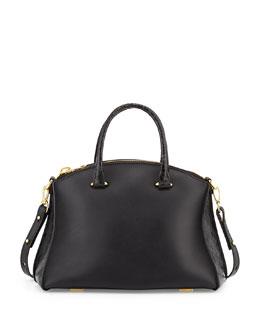 Vitello Leather & Crocodile Satchel Bag, Black