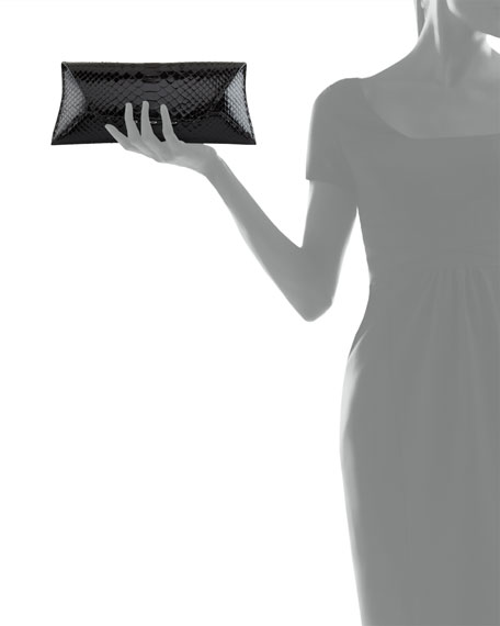Manila Stretch Python Clutch Bag, Black