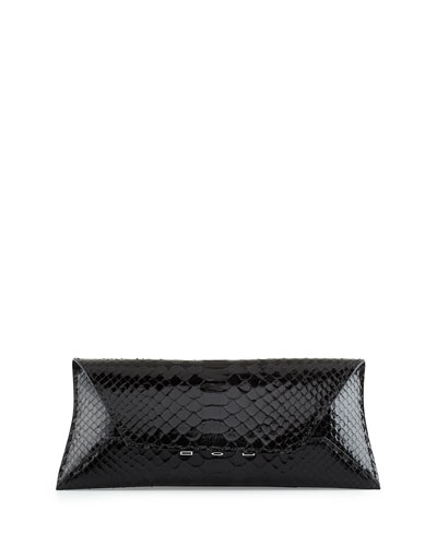 Manila Stretch Python Clutch Bag, Black