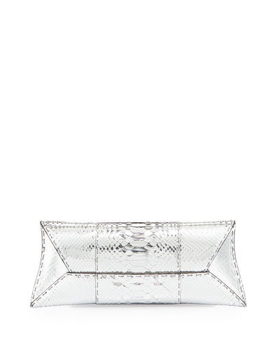 Manila Stretch Python Clutch Bag, Silver
