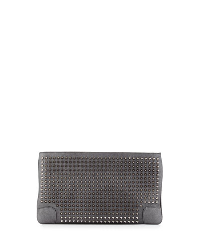 Loubiposh Spikes Metallic Clutch Bag, Anthracite/Gunmetal