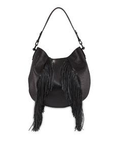 5d66760125 Christian Louboutin Lucky Fringe Leather Hobo Bag, Black