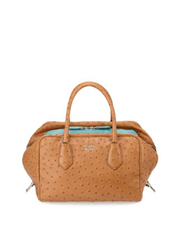 Ostrich Medium Inside Bag, Tan