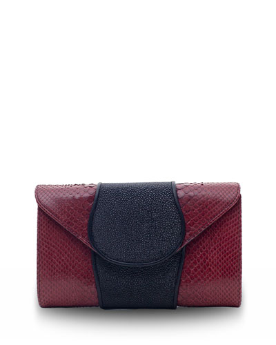 Babo Python & Stingray Clutch Bag, Wine