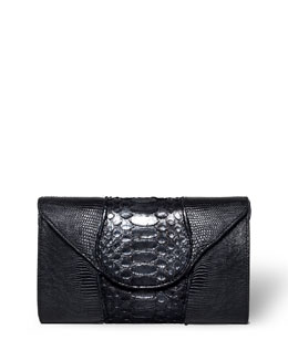 Babo Python & Lizard Clutch Bag, Black