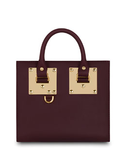 Albion Small Leather Box Tote Bag, Deep Red