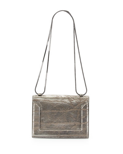 Soleil Mini Crackled Metallic Chain Shoulder Bag, Dark Gray