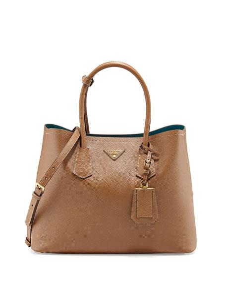 Prada Saffiano Cuir Medium Double Bag, Tan/Teal
