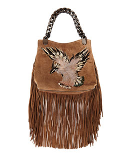 Feather-Embroidered Eagle Fringe Bag