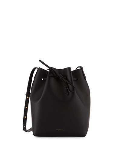 Vegetable-Tanned Leather Mini Bucket Bag, Black/Gold