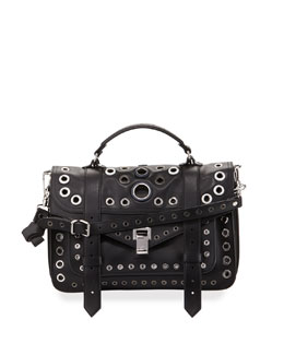 PS1 Medium Grommeted Leather Satchel Bag, Black