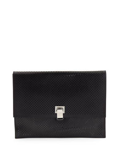 Large Perforated Leather Lunch Clutch Bag, Black