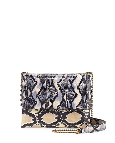 Sugar Mini Snakeskin Crossbody Bag, Black/White