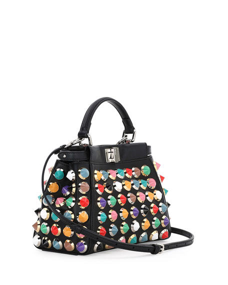 Peekaboo Mini Studded Satchel Bag, Black Multi